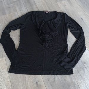 Adrienne Vittadini Studio Black Stretch Shirt Sm